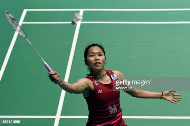 Ratchanok Intanon of Thailand plays a return shot to her compatriot Ongbamrungphan Busnan during the round two of the 2017 World BWF Super Series...