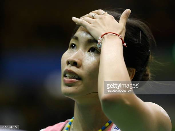 Ratchanok Intanon of Thailand reacts after defeating Yulia Yosephin Susanto of Indonesia during Round 2 of Women's Single of YonexSunrise Hong Kong...