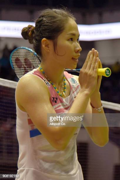 Ratchanok Intanon of Thailand reacts after she defeated Tai Tzu Ying of Chninese Taipei during the Women's Singles Final during the Perodua Malaysia...