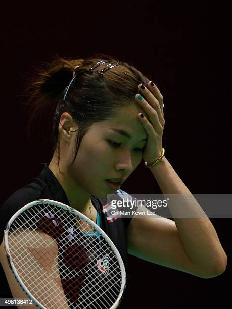 Ratchanok Intanon of Thailand reacts during the match between Nozomi Okuhara of Japan and Ratchanok Intanon of Thailand during SemiFinal of...