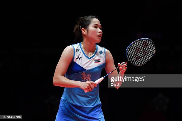 Ratchanok Intanon of Thailand reacts in against Pusarla V Sindhu of India during the women's semifinals match on day 4 of the HSBC BWF World Tour...