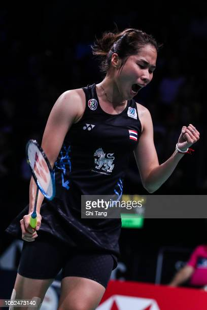 Ratchanok Intanon of Thailand reacts in the Women's Singles second round match against Cai Yanyan of China on day three of the Denmark Open at Odense...