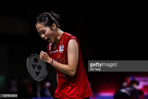 Ratchanok Intanon of Thailand reacts in the Women's Singles second round match against Sung Ji Hyun of Korea on day three of the Toyota Thailand Open...
