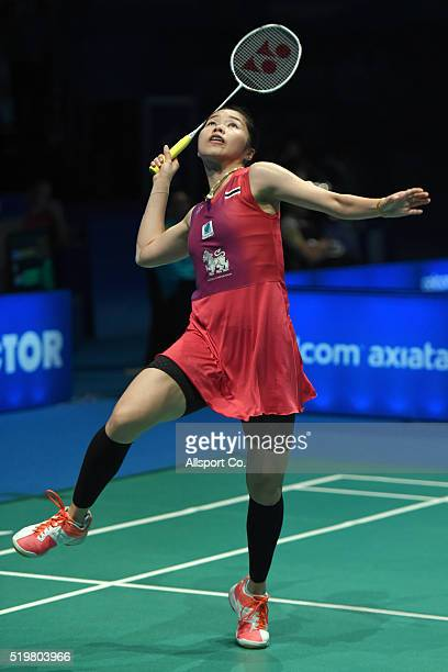 Ratchanok Intanon of Thailand returns to Pusarla V Sindhu of India during the Women Singles Quarter Finals match during the BWF World Super Series...