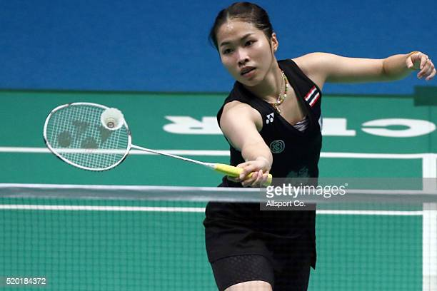 Ratchanok Intanon of Thailand returns to Tai Tzu Ying of Chinese Taipei during the Women Singlae Final during the BWF World Super Series Badminton...