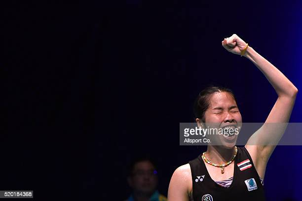 Ratchanok Intanon of Thailand screams as she defeated Tai Tzu Ying of Chinese Taipei during the Women Singlae Final during the BWF World Super Series...