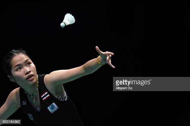Ratchanok Intanon of Thailand serves to Tai Tzu Ying of Chinese Taipei during the Women Singlae Final during the BWF World Super Series Badminton...