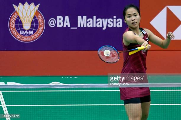Ratchanok Intanon of Thailandl plays a shot to Kristy Gilmour of Scotland during the round two of the Women's Singles at the Perodua Malaysia Masters...