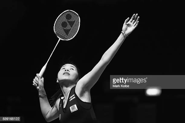 Ratchanok Intanon of Thialand plays a shot as she competes in 2016 Australian Badminton Open quarterfinal match against Saina Nehwal of India at...