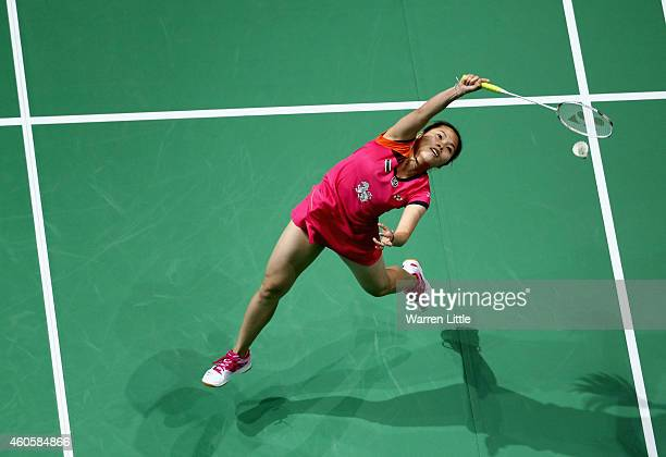 Ratchanok Intnon of Thiland in action against Tai Tzu Ying Chinese Taipei during the Women's Singles RR1 match on day one of the BWF Destination...