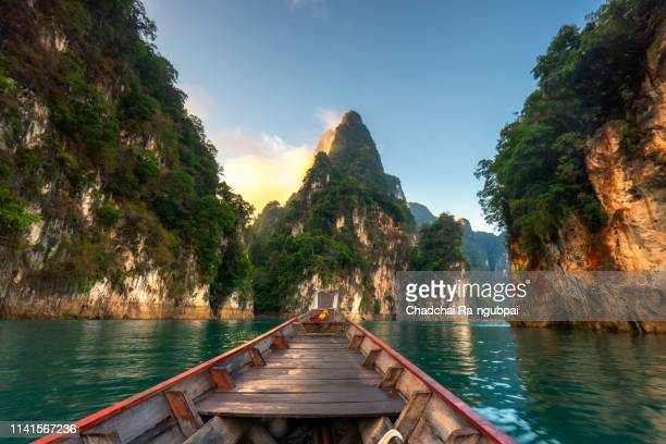 ratchaprapa dam in khao sok national park, thailand, surat thani,travel in thailand, beautiful destination asia, summer holiday outdoors vacation trip - phuket province stock pictures, royalty-free photos & images