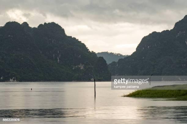 Ratchaprapha Dam at Khao Sok, Surat Thani Province, Thailand.