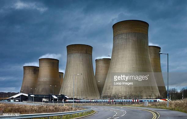 Ratcliffe on Soar power station adjacent to East Midlands Parkway railway station.