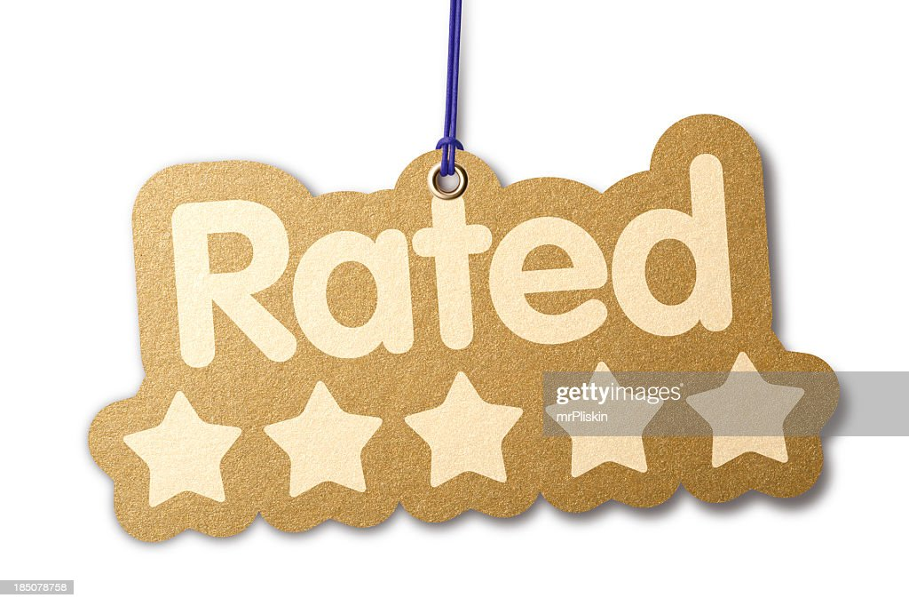 Rated 'FIVE STARS' shaped label : Stock Photo