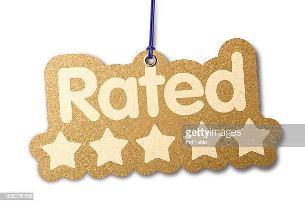 rated 'five stars' shaped label - rating stock pictures, royalty-free photos & images