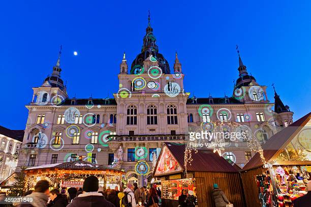 rathaus of graz - advent calendar stock photos and pictures