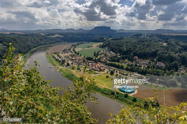 rathen seen from bastei rocks - east germany stock pictures, royalty-free photos & images