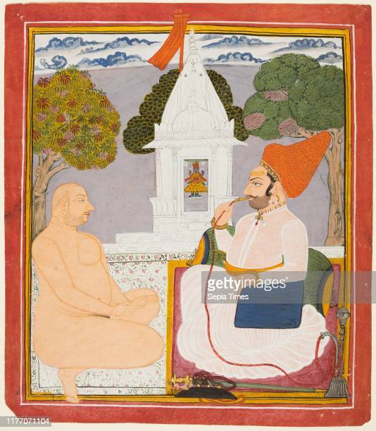 Rathor Noble Visiting a Digambara holy man at a Vishnu Shrine, probably Baba Atmaram, c. 1760. India, Marwar. Color on paper; page: 33.4 x 29.3 cm .