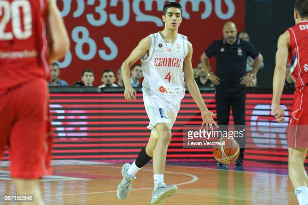 Rati Andronikashvili of Georgia drives the ball during the FIBA Basketball World Cup Qualifier match between Georgia and Serbia at Tbilisi Sports...
