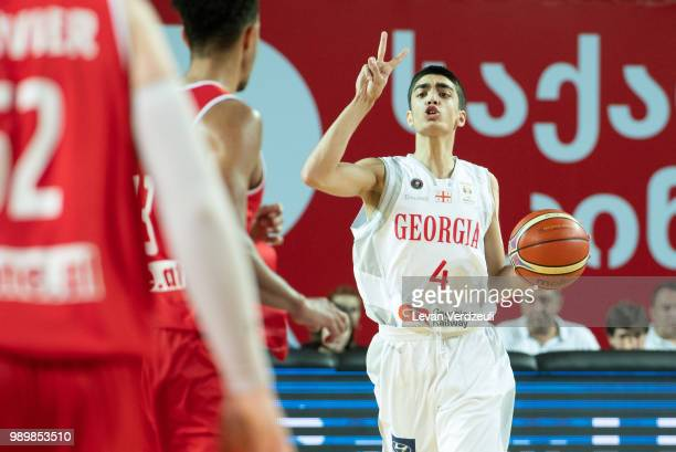 Rati Andronikashvili of Georgia drives the ball during the FIBA Basketball World Cup Qualifier match between Georgia and Austria at Tbilisi Sports...
