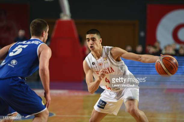 Rati Andronikashvili of Georgia drives the ball during the FIBA World Cup qualifier match between Georgia and Estonia on February 24 2019 in Tbilisi...