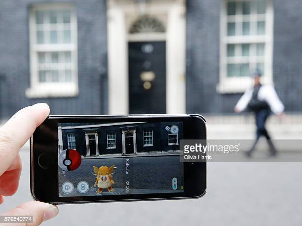 Raticate a character from Pokemon Go a mobile game that has become a global phenomenon on July 15 in Downing St London England The app lets players...
