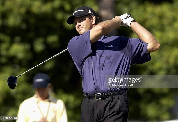 Ratief Goosen tees off on the 10th hole at the Chrysler Championship Friday October 31 2003 at Palm Harbor Florida Goosen held the early lead in the...
