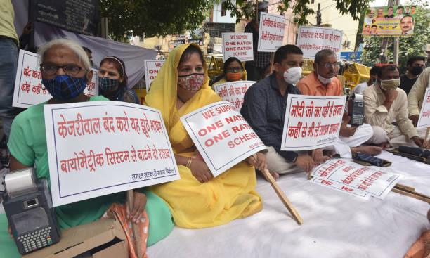 IND: BJP Protest Against Delhi Govt For Not Implementing One Nation, One Ration Card Scheme