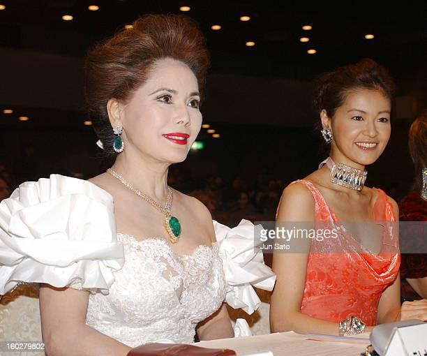 Ratna Sari Dewi Sukarno and Tomoka Kurotani during Miss International Japan 2005 Contest at Tokyo Kosei Nenkin Kaikan in Tokyo Japan