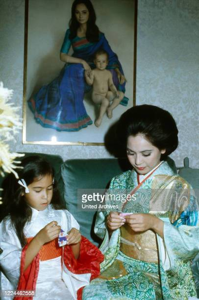Ratna Sari Dewi Sukarno with daughter Kartika Carina France 1970s