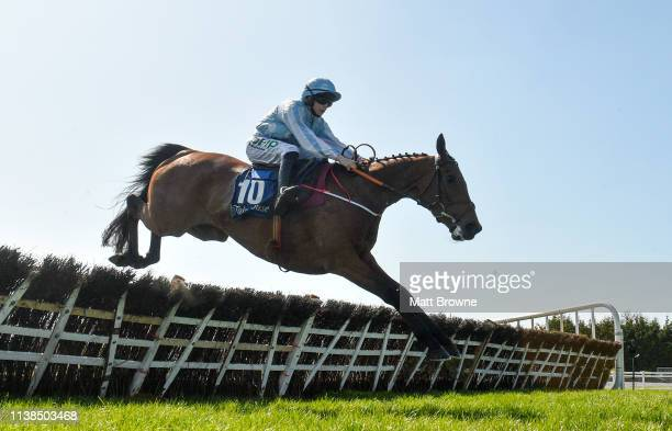 Ratoath Ireland 21 April 2019 Honeysuckle with Rachael Blackmore up jumps the last on their way to winning the Irish Stallion Farms EBF Mares Novice...