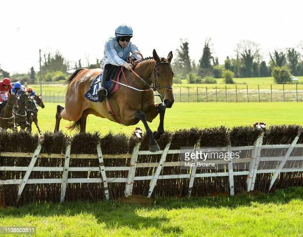 Ratoath Ireland 21 April 2019 Honeysuckle with Rachael Blackmore up jumps the last on their way to winning the Irish Stallion Farms EBF Mares Novice...