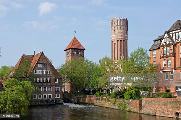 ratsmuhle mill, water tower, luneburg, lower saxony, germany - lüneburg stock photos and pictures