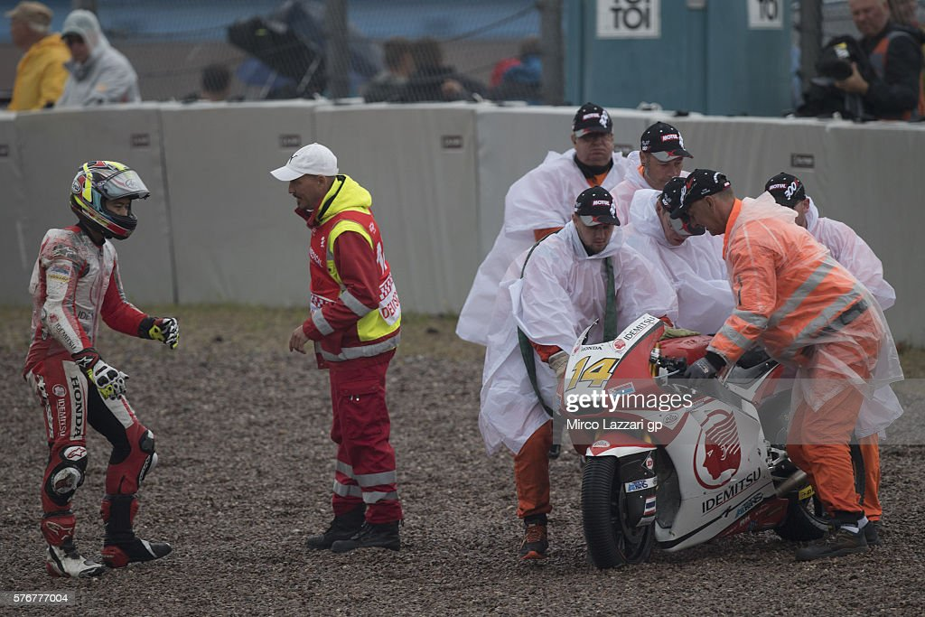 Ratthapark Wilairot of Thailand and Idemitsu Honda Team Asia crashed out during the Moto2 race during the MotoGp of Germany - Race at Sachsenring Circuit on July 17, 2016 in Hohenstein-Ernstthal, Germany.