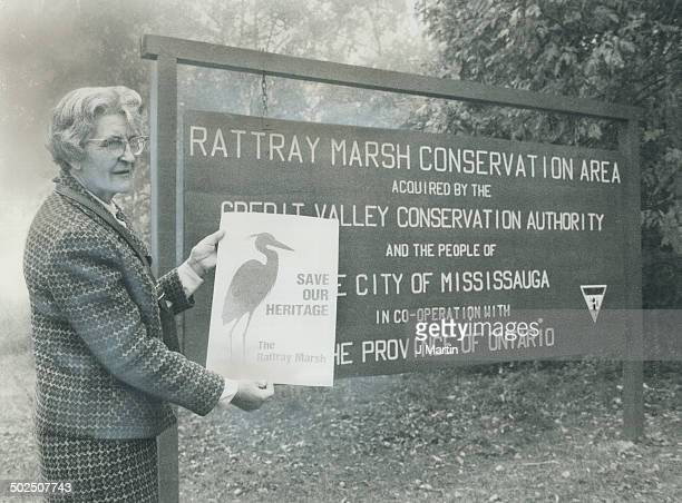 Rattray fund drive starts. Dr. Ruth Hussey; president of the Rattray Marsh Preservation Committee; shows campaign poster as the organization starts...