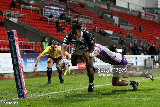 Ratu Naulago of Hull FC scores a try during the Betfred Super League match between Hull Kingston Rovers and Hull FC at Totally Wicked Stadium on...