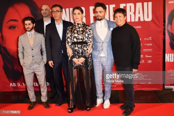 Rauand Taleb, Cem Oezdemir, Almila Bagriacik, Aram Arami and Seyran Ates attend the 'Nur eine Frau' premiere at Kino International movie theater on...
