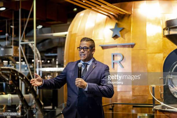 Raul Adorno general manager of the Starbucks Corp Reserve Roastery speaks during a media preview day at the Roastery in New York US on Tuesday Dec 11...