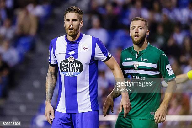 Raul Albentosa and David Timor Copoví during the Spanish league football match between Real Club Deportivo de La Coruña vs Club Deportivo Leganés at...