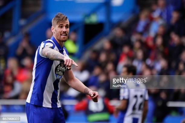 Raul Albentosa defender of Deportivo de La Coruña reacts during the La Liga Santander match between Deportivo de La Coruña and FC Barcelona at Riazor...