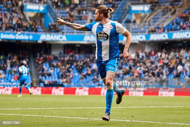 Raul Albentosa of Deportivo de La Coruna celebrates after scoring his team's first goal during the La Liga match between Deportivo La Coruna and Las...