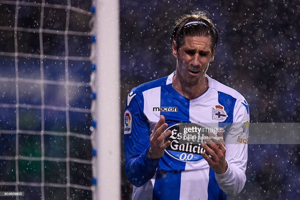 Raul Albentosa of Deportivo de La Coruna reacts during the La Liga match between Deportivo La Coruna and Valencia CF at Abanca Riazor Stadium on January 13, 2018 in La Coruna, Spain.