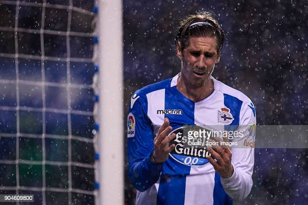 Raul Albentosa of Deportivo de La Coruna reacts during the La Liga match between Deportivo La Coruna and Valencia CF at Abanca Riazor Stadium on...