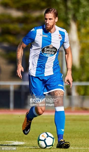 Raul Albentosa of Deportivo de La Coruna runs with the ball during the preseason friendly match between Club Silva SD and Deportivo de La Coruna at...