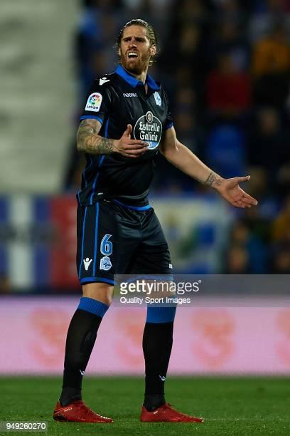 Raul Albentosa of Deportivo La Coruna reacts during the La Liga match between Leganes and Deportivo La Coruna at Estadio Municipal de Butarque on...
