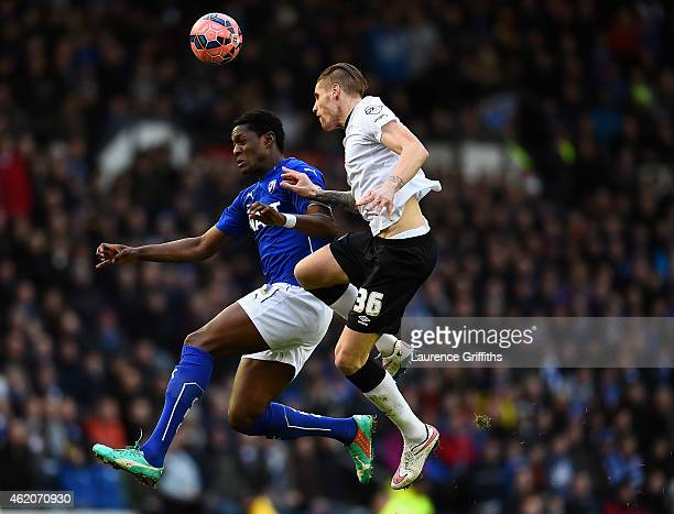 Raul Albentosa of Derby County battles with Armand Gnanduillet of Chesterfield during the FA Cup Fourth Round match between Derby County and...