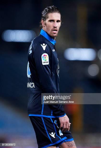 Raul Albentosa of RC Deportivo La Coruna reacts during the La Liga match between Real Sociedad de Futbol and RC Deportivo La Coruna at Estadio Anoeta...