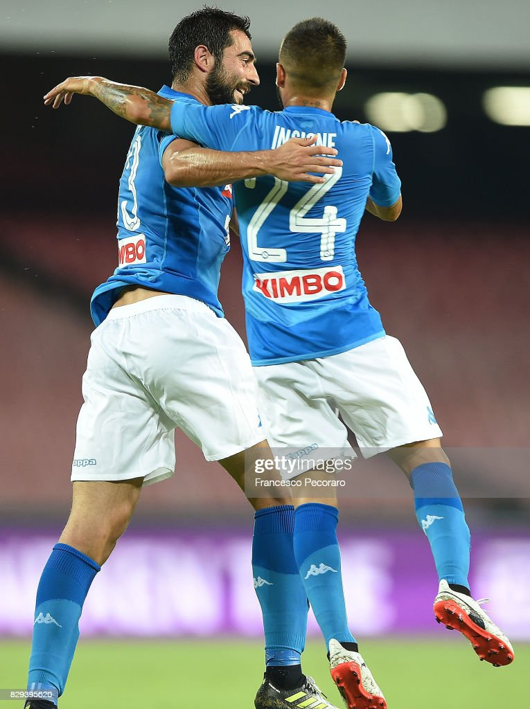 Raul Albiol and Lorenzo Insigne of SSC Napoli celebrate the 2-0 goal scored by Raul Albiol during the pre-season friendly match between SSC Napoli and Espanyol at Stadio San Paolo on August 10, 2017 in Naples, Italy.