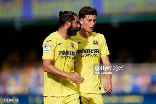 Raul Albiol and Pau Torres of Villarreal CF talk during the La Liga Santander match between Villarreal CF and Sevilla FC at Estadio de la Ceramica on...