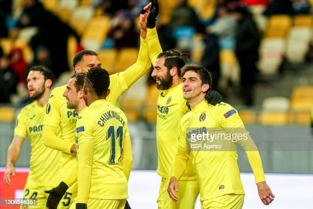 Raul Albiol of FC Villarreal celebrates his goal during the UEFA Europa League match between Dinamo Kiev and Villarreal at NSK Olimpiejsky on March...